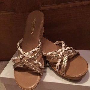 Marzia Vellutini Wedge Gold & White Sandals Sz 9.5